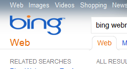 Original SERP with Bing Logo on Left Side