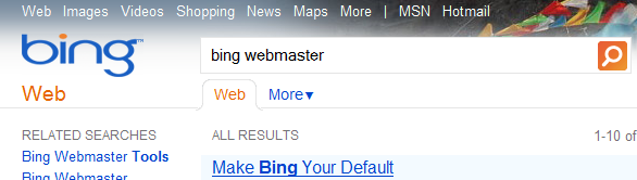 Bing.com Original Search Box and Tab Search Options Directly above Search Listings