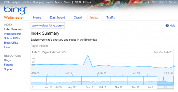 Bing Webmaster Tools: Index Summary