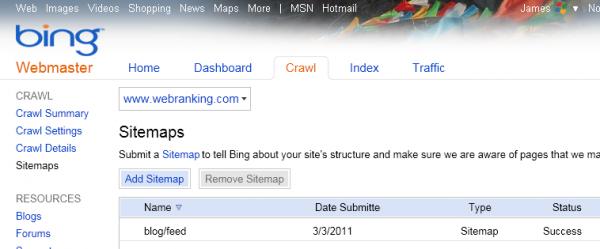 Bing Webmaster Tools Sitemaps