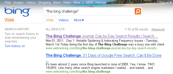 WebRanking Bing Challenge Posts in SERPs on 4th Day.