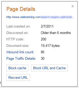 Bing Webmaster Tools Features - Index Explorer URL Popup