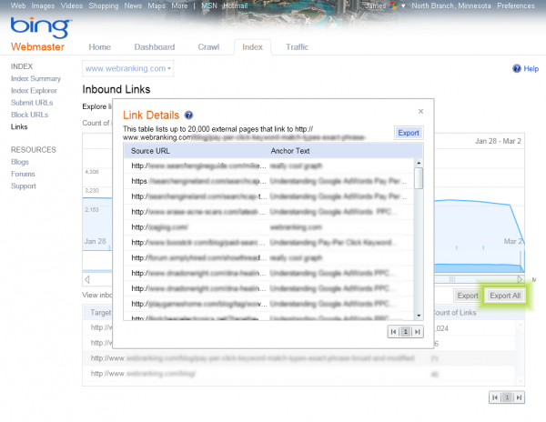 Bing Webmaster Tools Features - Index - Inbound Links with Link Details pop-up