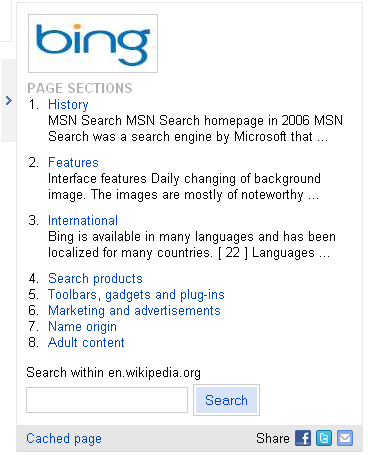 Bing More Info Box Image, Page Sections, Search Box
