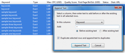 Google AdWords Editor: Append Text Tool