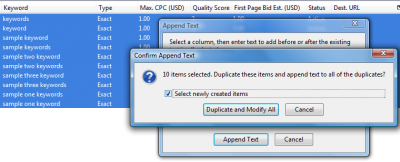 Google AdWords Editor: Confirm Append Text
