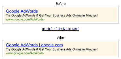 Google AdWords Display URLs Showing in Headlines