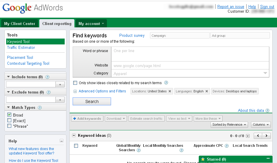 Finding keywords with Google Keyword Tool