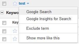 Google AdWords Keyword Tool Option: Google Search