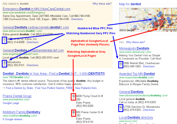 Google AdWords Pay Per Click SERP with Location Ad Extensions with Annotations