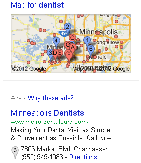 Google AdWords Location Ad Extension with Grey Pin on PPC Text Ad