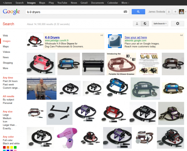 Google Image Search: K-9 Dryers SERP with AdWords Product Listing Ads Only