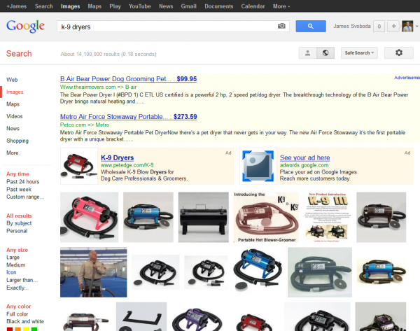 Google Image Search K-9 Dryers SERP with AdWords Product Listing and Text Ads