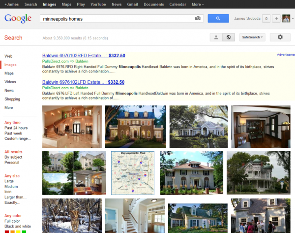 Google Image Search: Minneapolis Homes SERP with AdWords Text Ads Only