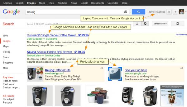 Google Testing Image Search Ads: Keurig SERP