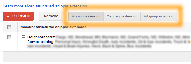 Google AdWords Ad Extension Structured Snippets Account Campaign Ad Group Extensions