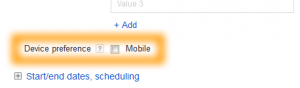 Google AdWords Ad Extension Structured Snippets Device Preference