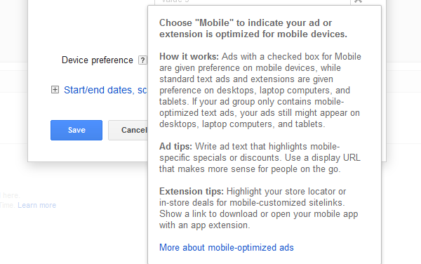 Google AdWords Ad Extension Structured Snippets Device Preference note