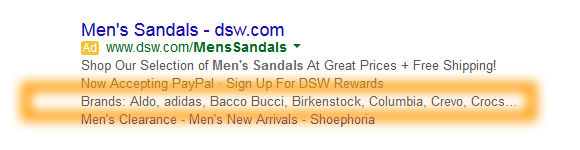Google AdWords Ad Extension Structured Snippets Example Brands