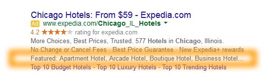 Google AdWords Ad Extension Structured Snippets - Examples - Featured - Chicago Hotels