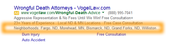 Google AdWords Ad Extension Structured Snippets Examples Neighborhoods