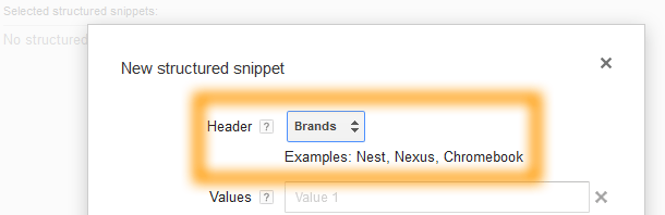 Google AdWords Ad Extension Structured Snippets Header Brands