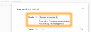 Google AdWords Ad Extension Structured Snippets Header Degree Programs