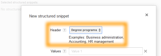 Google AdWords Ad Extension Structured Snippets - Header - Degree Programs