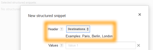 Google AdWords Ad Extension Structured Snippets Header Destinations