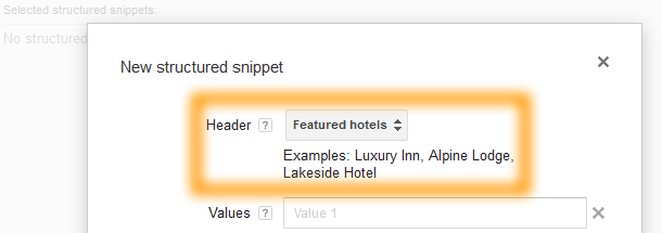 Google AdWords Ad Extension Structured Snippets Header Featured Hotels