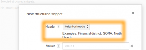 Google AdWords Ad Extension Structured Snippets Header Neighborhoods