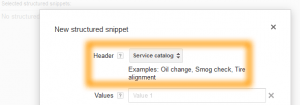 Google AdWords Ad Extension Structured Snippets Header Service Catalog