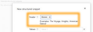 Google AdWords Ad Extension Structured Snippets Header Shows