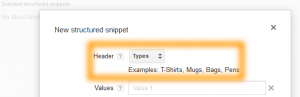 Google AdWords Ad Extension Structured Snippets Header Types