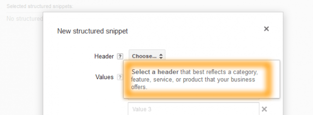 Structured Snippets Header Note