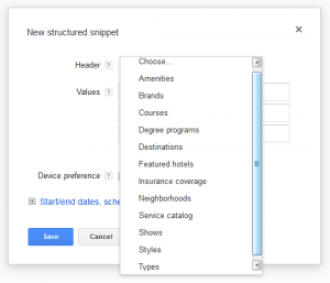Google AdWords Ad Extension Structured Snippets Header Options