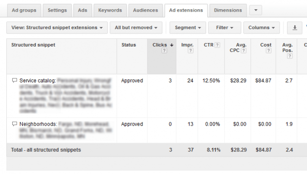 Google AdWords Ad Extension Structured Snippets Multiples and Order Priority