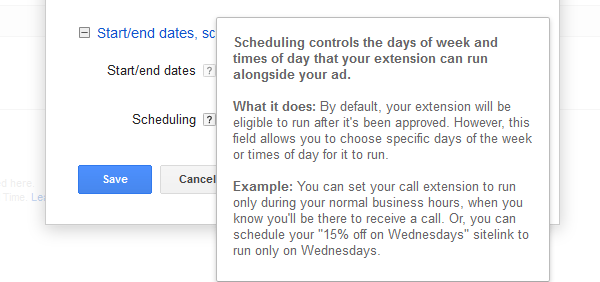 Google AdWords Ad Extension Structured Snippets Scheduling note