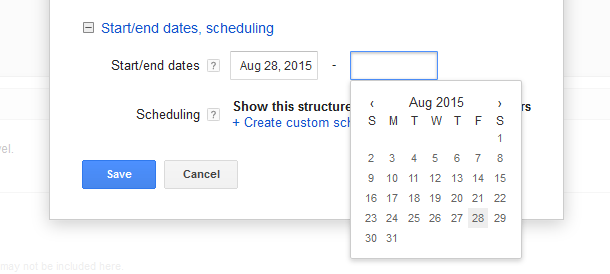 Google AdWords Ad Extension Structured Snippets Start and End Dates calendar options