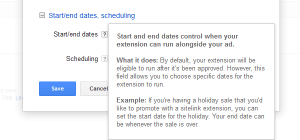 Google AdWords Ad Extension Structured Snippets Start and End Dates note