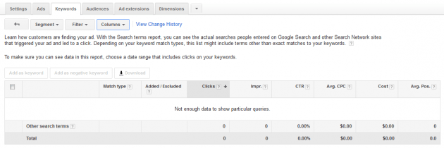 Original Google AdWords Keywords Search Terms Report