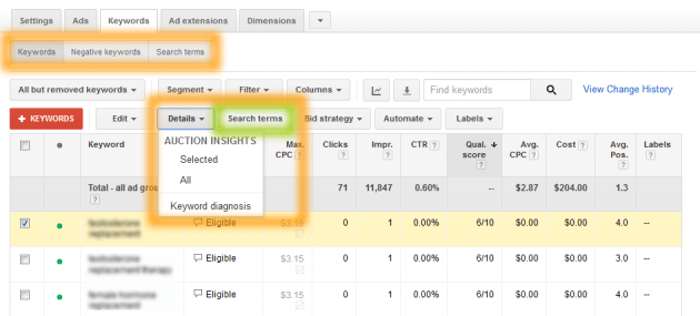 New Google AdWords Keywords Tab Segmentation