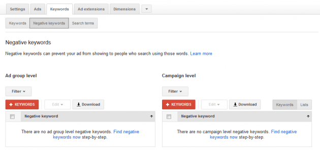 New Google AdWords Negative Keywords page.