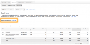 AdWords Keywords Tab Search Terms Report