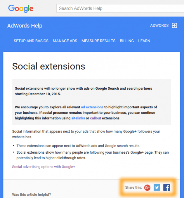 AdWords Social Extensions Help notice page