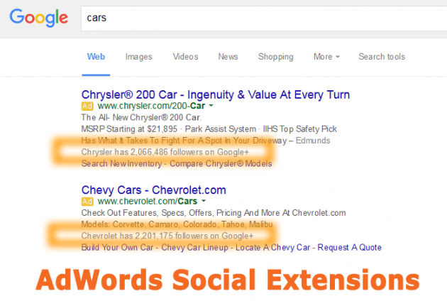Google AdWords Social Ad Extensions
