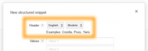 Google AdWords Ad Extension Structured Snippets - Models Header and Languages Updates