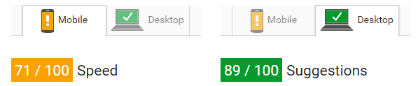 Optimizely PageSpeed - 71/89