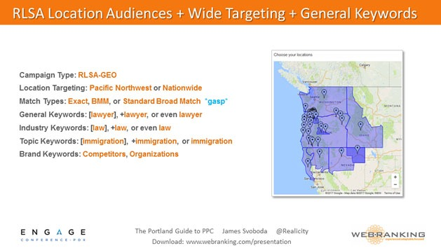 RLSA Location Audiences and Wide Targeting and General Keywords